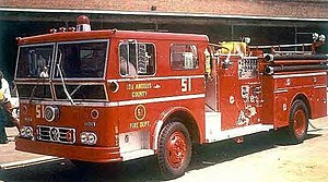 Emergency! - The Engine 51 from Ward La France, shown in a photo shot in the 1970s.