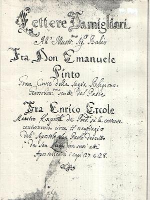 Henry Ercole - Frontispiece of Ercole's Lettere Famigliari