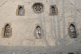 Architectural conservation - Windows, c.1270, on the carefully preserved Old Synagogue, Erfurt in Germany
