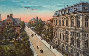 Emmy Noether - Noether grew up in the Bavarian city of Erlangen, depicted here in a 1916 postcard