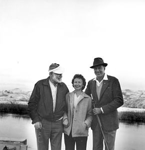 Ernest Hemingway, Clara Spiegel, and Gary Cooper, Silver Creek, Idaho, January 1959.jpg