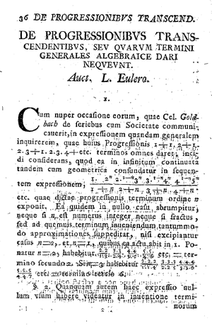 Gamma function - The first page of Euler's paper