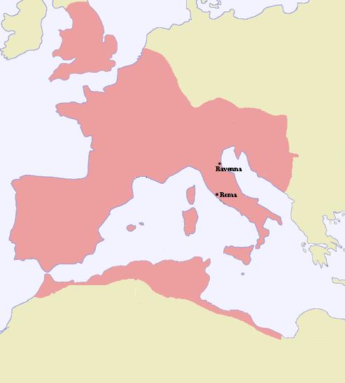 Extent of Western Roman Empire 395