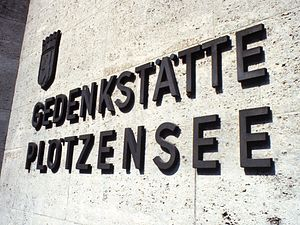 Plötzensee Prison - Exterior sign at Plotzensee Memorial, 1984