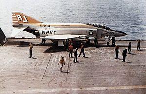 Carrier Air Wing Eight - An VF-142 F-4J Phantom on USS America, 1974.