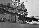 F9F-8 Cougar of VF-91 hits crash barrier on USS Kearsarge (CVA-33) c1956.jpg