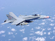 A US Navy F/A-18 in flight