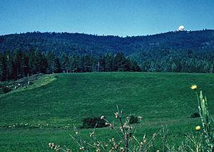 AN/FPS-24 Radar - FPS-24 radome dwarfing FPS-6A radome alongside, Cottonwood AFS, Cottonwood, Idaho circa 1964.