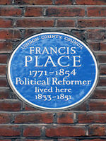 FRANCIS PLACE 1771-1854 Political Reformer lived here 1833-1851.JPG