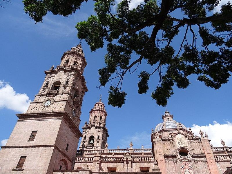 File:Facade of Cathedral - Morelia - Michoacan - Mexico (20285129810).jpg