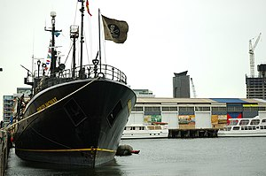 Anti-whaling - Sea Shepherd's RV ''Farley Mowat'', docked in Melbourne before setting out to pursue the Japanese whaling fleet in 2005.