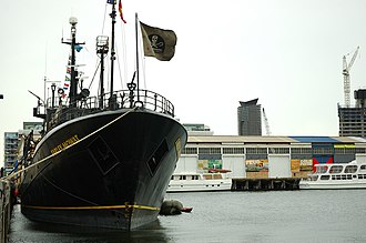 Anti-whaling - Sea Shepherd's RV Farley Mowat, docked in Melbourne before setting out to pursue the Japanese whaling fleet in 2005.