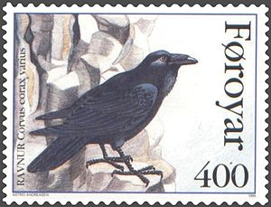 Faroe stamp 275 the north atlantic raven (corvus corax varius).jpg