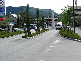 Fauske - The E6 - Rv 80 road junction in the centre of Fauske