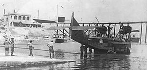 Felixstowe F.3 - Felixstowe F.3 resting on the slipway at Kalafrana, Malta, c.1918. F.3s were operating throughout the Mediterranean by the end of the war.