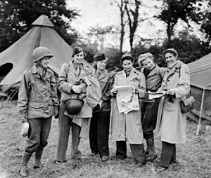 Wilson, Keppel and Betty - Betty Knox (third from right) in 1944 as a war correspondent for the London Evening Standard