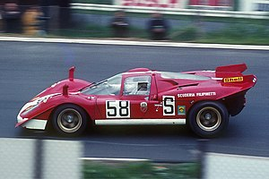 Ferrari 512 - Mike Parkes with Scuderia Filipinetti's Ferrari 512 S (No. 1008) at 1000km Nürburgring 1970, finishing fourth with Herbert Müller