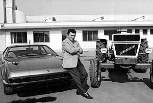 Lamborghini - Ferruccio Lamborghini with a Jarama and a tractor of his brand
