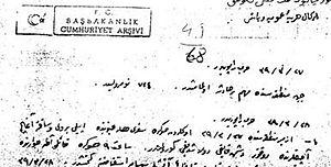 Special Organization (Ottoman Empire) - Fevzi Çakmak's report on Eşref Kuşçubaşı.