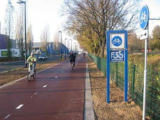Bike freeway A bikeway with high design parameters, enabling high travel speeds.