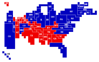 Infographic - A cartogram showing the final electoral results of the 2008 US presidential election