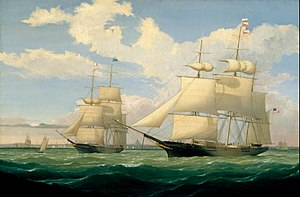 "Fitz Henry Lane - The Ships ""Winged Arrow"" and ""Southern Cross"" in Boston Harbor, 1853"