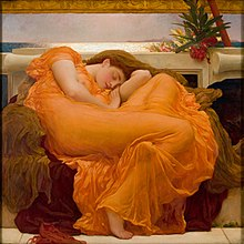 sleeping woman dressed in orange