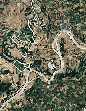 Ohio River - Natural-color satellite image of the Wabash-Ohio confluence.