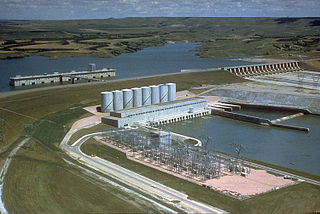 Fort Randall Dam Dam in Gregory County and Charles Mix County, South Dakota.