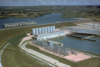 Lake Francis Case - Fort Randall Dam, with Lake Francis Case in the background
