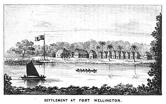 Mosquito Coast - Fort Wellington on the Black River (Engraving showing Fort Wellington (Poyais) on the Black River, Mosquito Coast, mid 1840s.)