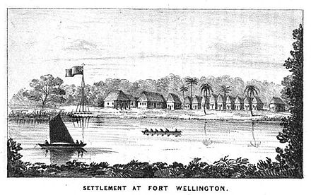 Fort Wellington on the Black River (Engraving showing Fort Wellington (Poyais) on the Black River, Mosquito Coast, mid 1840s.) Fort Wellington on the Black River, mid 1840s.jpg