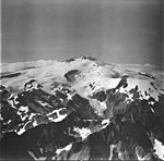 Fourpeaked Mountain, mountain glacier with bergschrund onthe upper portions of the mountain, September 4, 1977 (GLACIERS 6515).jpg