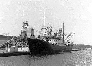 Barahona, Dominican Republic - The German cargo Ship MS Vogelsberg loading of sugar - Santa Cruz de Barahona, 1959