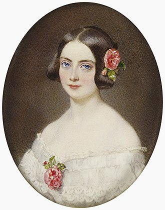 Frances Jocelyn, Viscountess Jocelyn - Watercolour miniature of Lady Jocelyn, c. 1841. This is a copy that Queen Victoria commissioned in 1882.
