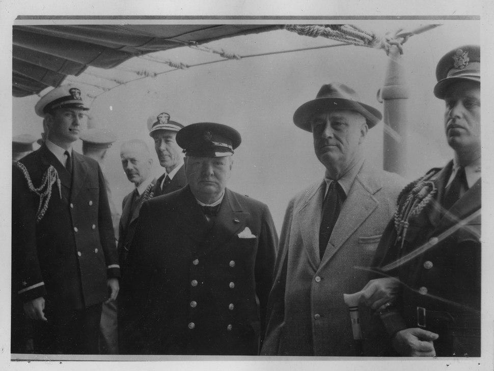 Franklin D. Roosevelt, F.D.R. jr. Churchill, and Elliott R. at the Atlantic Conference - NARA - 196902