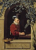 Frans van Mieris - An old violin player in a stone arched niche.jpg