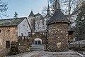 Frauenstein Schloss Wasserablaufschleusenturm und Zinnen-Tor 14122016 5662.jpg