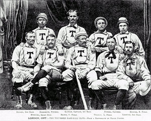 Fred Goldsmith (baseball) - Image: Fred Goldsmith in 1876 1877 1878 London Tecumseh Team London Ontario Canada