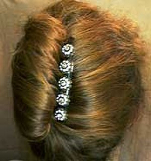 French twist (hairstyle) - A French comb holding a French twist.