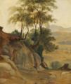 Fritz Petzholdt - Italiensk landskab med klipper og høje træer.png