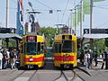 Front and rear view of BLT Trams at Basel, Switserland.JPG