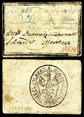 Groschen - Image: GER COL S 1452 Prussia Siege of Kolberg 4 groschen 1807
