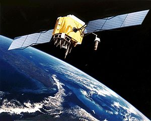 Artist's conception of GPS satellite in orbit