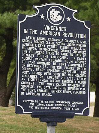 Vincennes, Indiana - American Revolutionary War Historic Memorial Plaque in Vincennes, Indiana