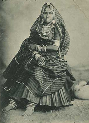 Gagra choli - Woman in traditional style of gagra choli worn in Hindi belt.