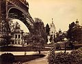 Gas Pavilion, with base of the Eiffel Tower on left, Paris Exposition, 1889.jpg