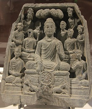 Refuge (Buddhism) - Image: Gautama Buddha first sermon in Sarnath