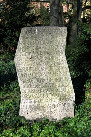 Alter Botanischer Garten (Munich) - tablet commemorating the first long-distance transmission of power, the Miesbach–Munich Power Transmission of 1882