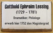 Gedenktafel in Wittenberg, Kirchplatz 26 (Quelle: Wikimedia)